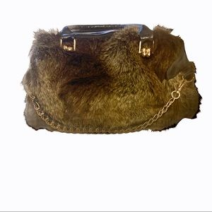 Faux Fur & Leather Chain Black Satchel Purse